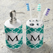 Personalized Monogram Jade Quatrefoil Pattern Soap Dispenser & Toothbrush Holder