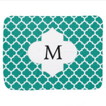Personalized Monogram Jade Quatrefoil Pattern Swaddle Blanket