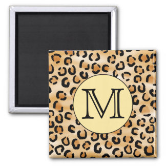 Personalized Monogram Leopard Print Pattern. 2 Inch Square Magnet