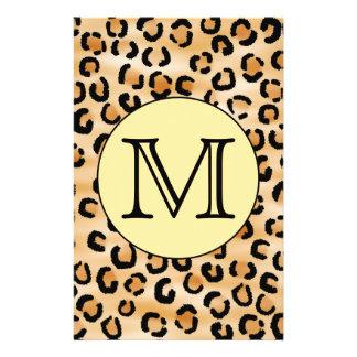 "Personalized Monogram Leopard Print Pattern. 5.5"" X 8.5"" Flyer"