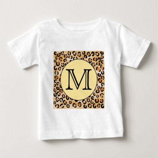 Personalized Monogram Leopard Print Pattern. Baby T-Shirt