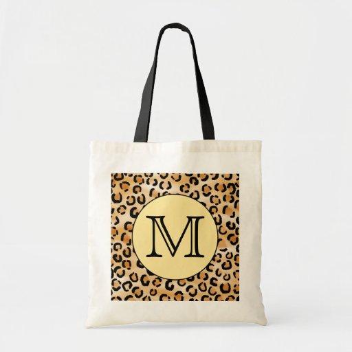 Personalized Monogram Leopard Print Pattern. Tote Bag