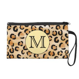 Personalized Monogram Leopard Print Pattern Wristlet Purses