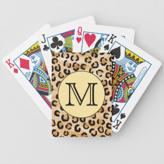 Personalized Monogram Leopard Print Pattern. Bicycle Playing Cards
