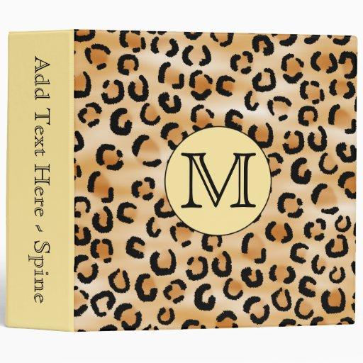 Personalized Monogram Leopard Print Pattern. 3 Ring Binders