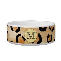 Personalized Monogram Leopard Print Pattern. Bowl