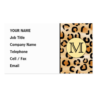 Personalized Monogram Leopard Print Pattern. Business Card Templates