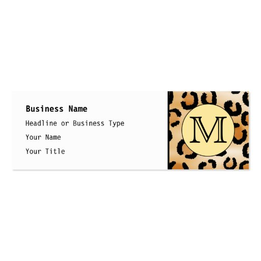 Personalized Monogram Leopard Print Pattern. Double-Sided Mini Business Cards (Pack Of 20)