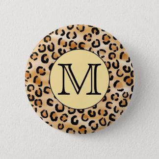 Personalized Monogram Leopard Print Pattern. Button