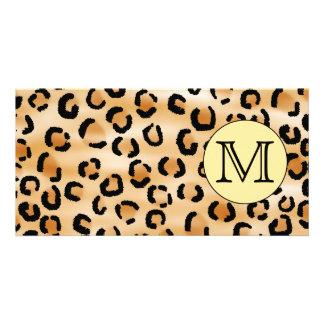 Personalized Monogram Leopard Print Pattern. Card
