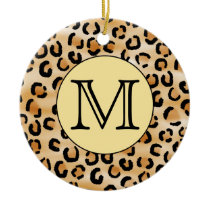 Personalized Monogram Leopard Print Pattern. Ceramic Ornament