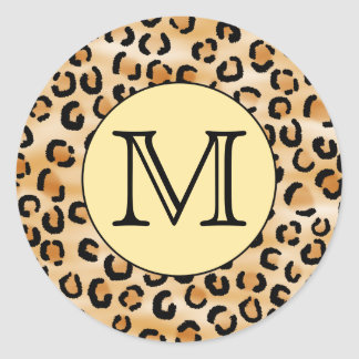 Personalized Monogram Leopard Print Pattern. Classic Round Sticker