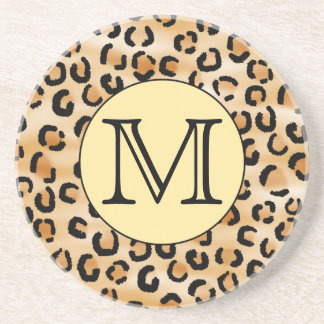Personalized Monogram Leopard Print Pattern. Coaster