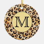 Personalized Monogram Leopard Print Pattern. Double-Sided Ceramic Round Christmas Ornament