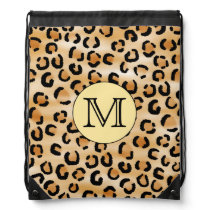 Personalized Monogram Leopard Print Pattern. Drawstring Backpack