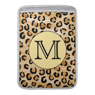 Personalized Monogram Leopard Print Pattern. Sleeve For MacBook Air