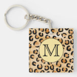 Personalized Monogram Leopard Print Pattern. Acrylic Keychains