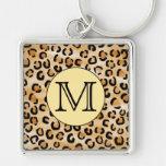 Personalized Monogram Leopard Print Pattern. Key Chain