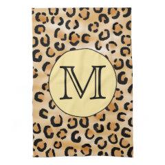 Personalized Monogram Leopard Print Pattern. Kitchen Towel