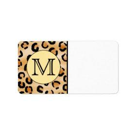Personalized Monogram Leopard Print Pattern. Address Label