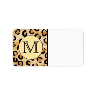 Personalized Monogram Leopard Print Pattern Address Label