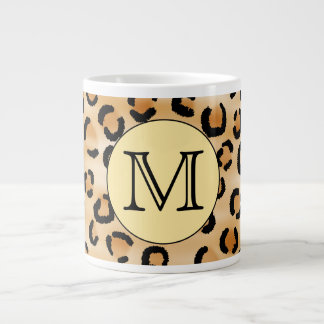 Personalized Monogram Leopard Print Pattern. Large Coffee Mug