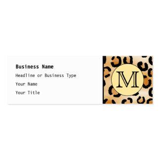Personalized Monogram Leopard Print Pattern. Mini Business Card