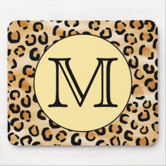Personalized Monogram Leopard Print Pattern. Mousepad
