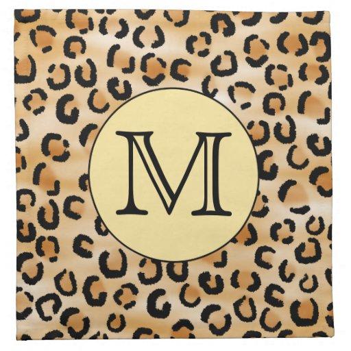 Personalized Monogram Leopard Print Pattern. Printed Napkin