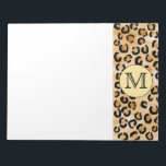 "Personalized Monogram Leopard Print Pattern. Notepad<br><div class=""desc"">A brown,  beige and black leopard animal print pattern with a monogram initial letter that can be personalized.</div>"