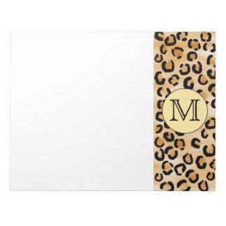 Personalized Monogram Leopard Print Pattern. Memo Notepads