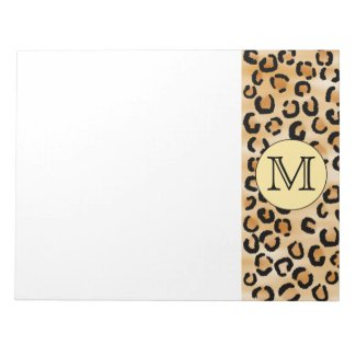 Personalized Monogram Leopard Print Pattern. Memo Notepads