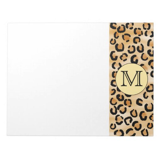 Personalized Monogram Leopard Print Pattern. Memo Pads