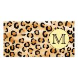 Personalized Monogram Leopard Print Pattern. Custom Photo Card