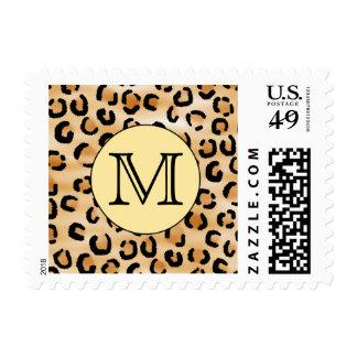 Personalized Monogram Leopard Print Pattern. Postage Stamp