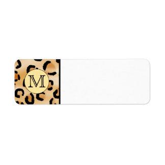 Personalized Monogram Leopard Print Pattern. Return Address Label