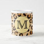 Personalized Monogram Leopard Print Pattern. Extra Large Mugs