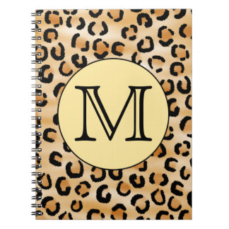 Personalized Monogram Leopard Print Pattern. Spiral Notebooks