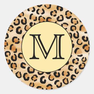 Personalized Monogram Leopard Print Pattern. Round Sticker