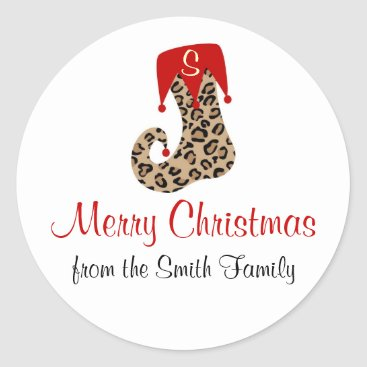 Christmas Themed Personalized Monogram Leopard Stocking Sticker