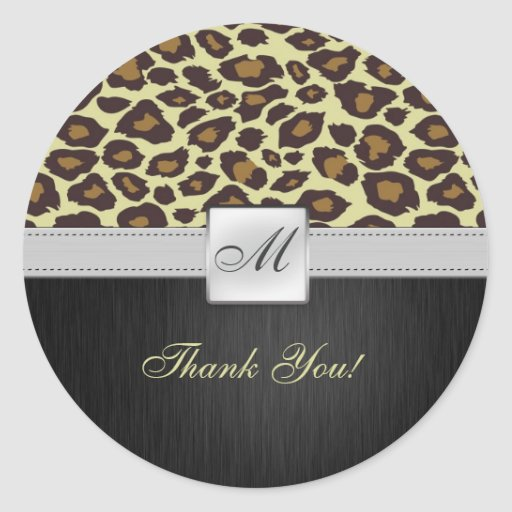 Personalized Monogram Leopard Thank You Stickers