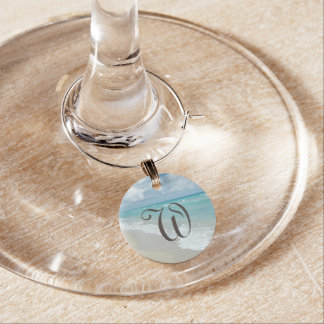Personalized Monogram Letter Beach Ocean View Wine Glass Charm