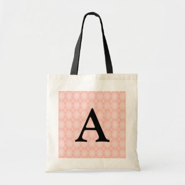 Beach Themed Personalized Monogram Light Pink Tote Bag