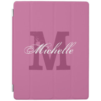 Personalized monogram magnetic iPad cover Pink