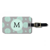 Personalized Monogram Mint and Gray Floral Pattern Bag Tag