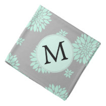 Personalized Monogram Mint and Gray Floral Pattern Bandana