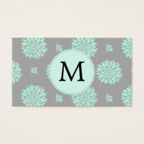 Personalized Monogram Mint and Gray Floral Pattern Business Card