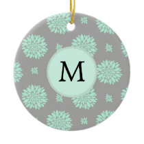 Personalized Monogram Mint and Gray Floral Pattern Ceramic Ornament