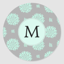 Personalized Monogram Mint and Gray Floral Pattern Classic Round Sticker