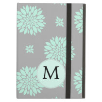 Personalized Monogram Mint and Gray Floral Pattern iPad Air Case